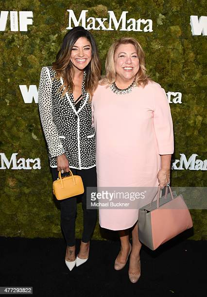 Actress Jessica Szohr wearing Max Mara and producer Lucy Webb attend The Max Mara 2015 Women In Film Face Of The Future event at Chateau Marmont on...