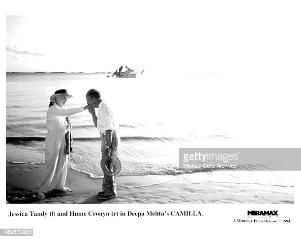 Actress Jessica Tandy and actor Hume Cronyn on set of the Miramax movie Camilla circa 1994
