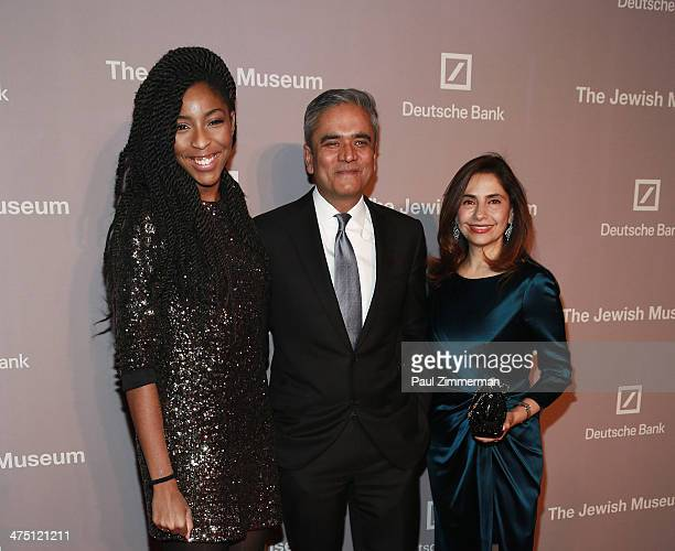 Actress Jessica Williams CoChief Executive Officer of Deutsche Bank Anshu Jain and Geetika Jain attend the Jewish Museum's Purim Ball 2014 at Park...