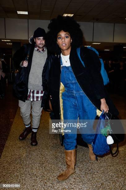 Actress Jessica Williams leaves the Salt Lake City International Airport on January 18 2018 in Salt Lake City Utah