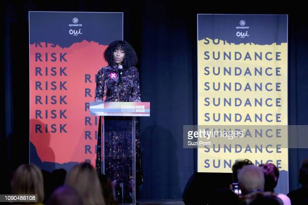Actress Jessica Williams speaks onstage at the Women At Sundance Celebration Hosted By Sundance Presented By Refinery29 And Oui By Yoplait during the...