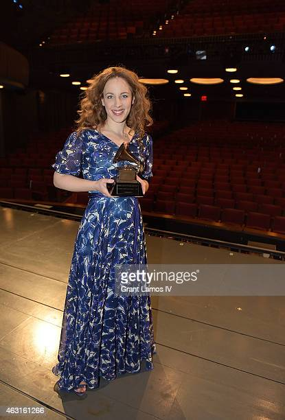 Actress Jessie Mueller of 'Beautful The Carole King Musical' celebrates her Grammy win at Stephen Sondheim Theatre on February 10 2015 in New York...