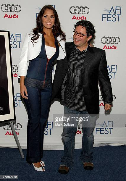 Actress Jessika Grau and director Alberto Arvelo arrive to the Tribute to Laura Linney and screening of 'The Savages' during the AFI FEST 2007 held...