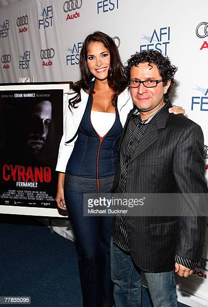 Actress Jessika Grau and director Alberto Arvelo of the film 'Cyrano Fernandez' attend the AFI FEST 2007 presented by Audi held at the Rooftop...