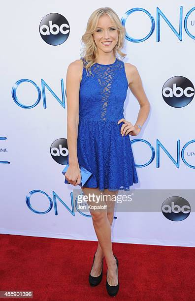 Actress Jessy Schram arrives at ABC's Once Upon A Time Season 4 Red Carpet Premiere at the El Capitan Theatre on September 21 2014 in Hollywood...