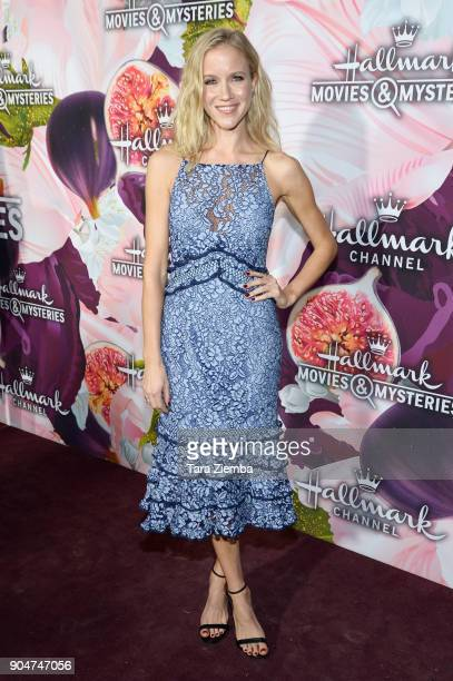 Actress Jessy Schram attends Hallmark Channel and Hallmark Movies and Mysteries Winter 2018 TCA Press Tour at Tournament House on January 13 2018 in...