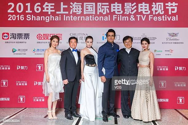 Actress Jiang Wen director Stanley Tong actress Muqi Miya actor Sonu Sood actor Jackie Chan and actress Amyra Dastur arrive for the red carpet of the...