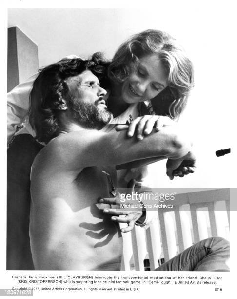 Actress Jill Clayburgh with actor Kris Kristofferson on set for the United Artists movie ' SemiTough' in 1977