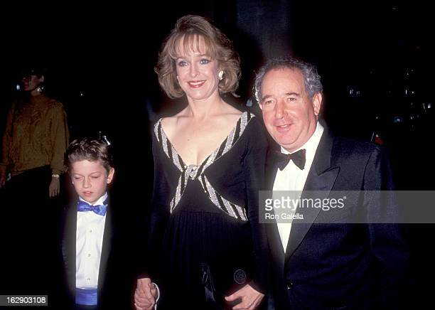 Actress Jill Eikenberry, actor Michael Tucker and son Max Tucker attend the 48th Annual Golden Globe Awards on January 19, 1991 at Beverly Hilton...