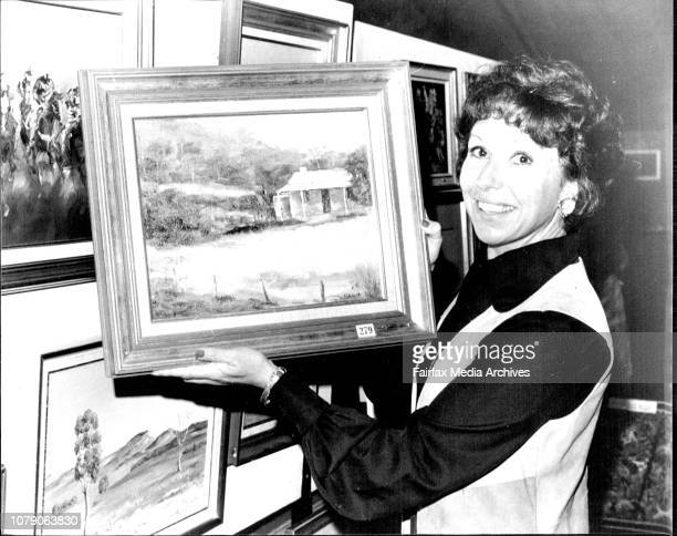 Actress Jill Ferrymen officially opens a Gala raster Art Exhibition at the Sydney Opera House reception hail in aid of the Multiples Sclerosis...