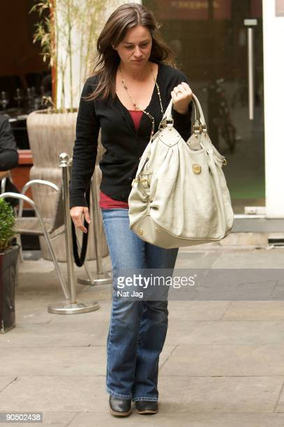 Actress Jill Halfpenny arrives for her matinee performance of 'Calender Girls' at The Noel Coward Theatre on September 9 2009 in London England