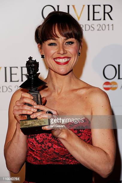 Actress Jill Halfpenny winner of Best Performance in a Supporting Role in a Musical for Legally Blonde The Musical poses in the press room during The...