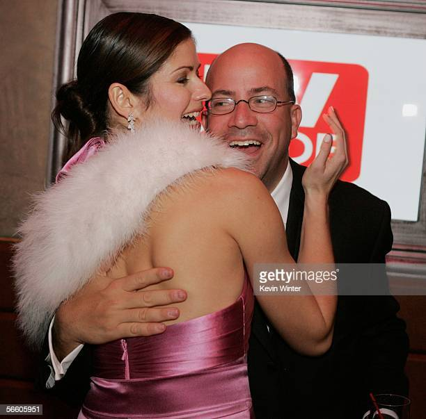 Actress Jill Hennessy and NBC Entertainment President Jeff Zucker attend the Universal/NBC/Focus Features Golden Globe after party held at the...
