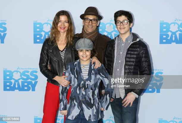 Actress Jill Hennessy Gianni Mastropietro Paolo Mastropietro and Marco Mastropietro attend The Boss Baby New York premiere at AMC Loews Lincoln...