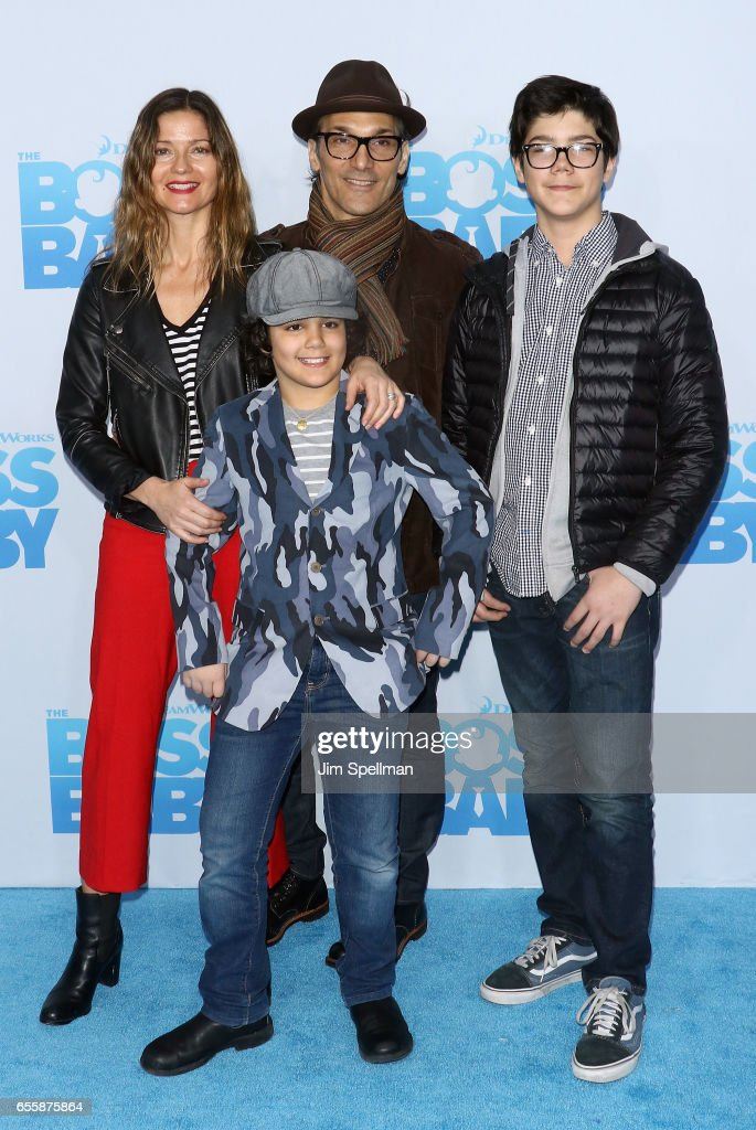 Actress Jill Hennessy, Gianni Mastropietro, Paolo Mastropietro and Marco Mastropietro attend 'The Boss Baby' New York premiere at AMC Loews Lincoln Square 13 theater on March 20, 2017 in New York City.
