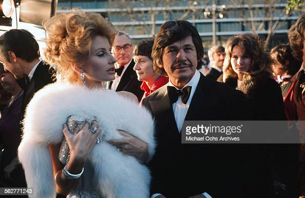 Actress Jill Ireland and actor Charles Bronson arrive to the 46th Academy Awards at Dorothy Chandler Pavilion in Los Angeles,California.