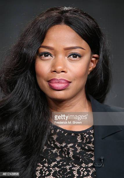 Actress Jill Marie Jones speaks onstage during the 'White Water' panel at the TV One Network portion of the 2015 Winter Television Critics...