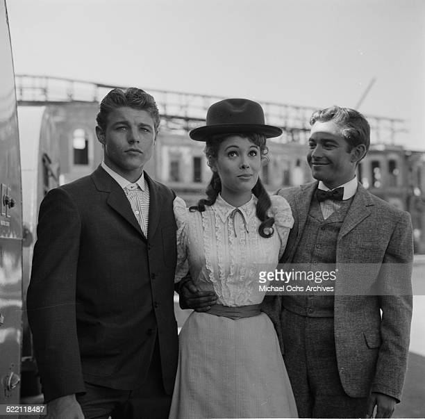 Actress Jill St John poses on set with actors David Nelson and Ray Stricklyn in Los AngelesCA