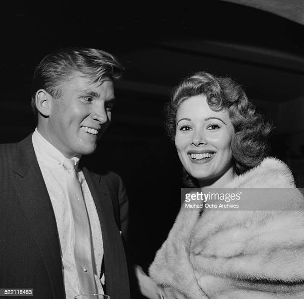 Actress Jill St John poses with husband Lance Reventlow during an event in Los AngelesCA
