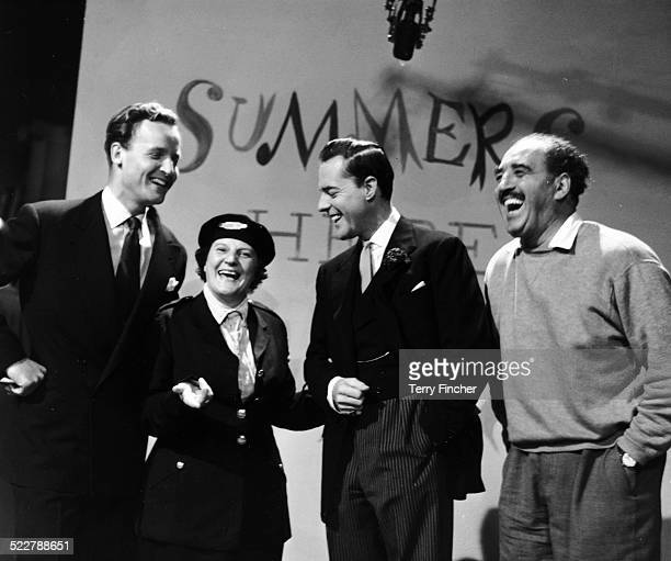 Actress Jill Summer sharing a joke on stage with members of her show Nicholas Parsons Terrence Alexander and Harry Lane at ITV Studios Wood Green...