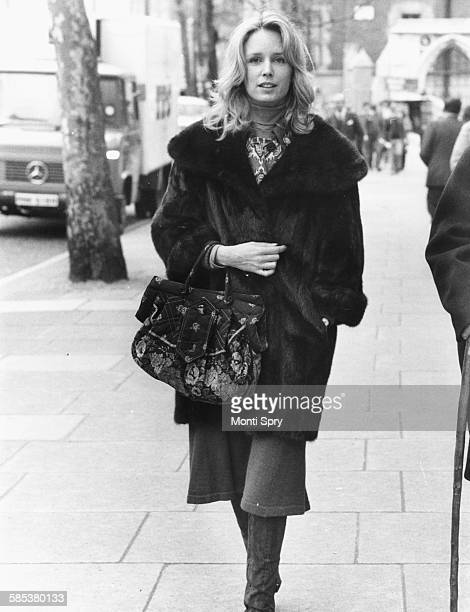 Actress Jill Townsend pictured leaving the High Court following divorce proceedings with actor Nicol Williamson London April 5th 1977
