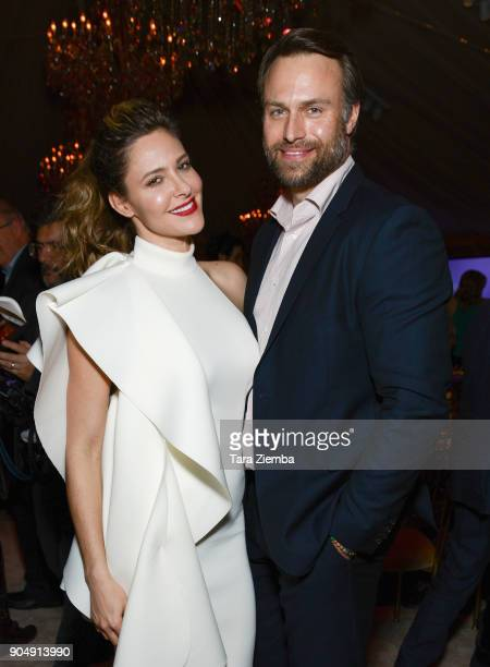 Actress Jill Wagner and David Lemanowicz attend Hallmark Channel and Hallmark Movies and Mysteries Winter 2018 TCA Press Tour at Tournament House on...