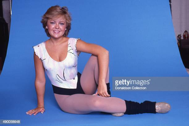 Actress Jill Whelan poses for a portrait session wearing aerobics gear in 1984 in Los Angeles California