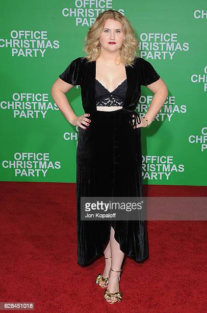 Actress Jillian Bell arrives at the Los Angeles Premiere Office Christmas Party at Regency Village Theatre on December 7 2016 in Westwood California