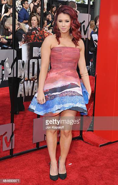 Actress Jillian Rose Reed arrives at the 2014 MTV Movie Awards at Nokia Theatre LA Live on April 13 2014 in Los Angeles California