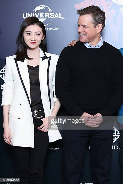 Actress Jing Tian and actor Matt Damon attend 'The Great Wall' press conference at Peninsula Hotel on December 8 2016 in Beijing China