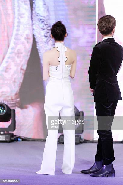 Actress Jing Tian and Ren Jialun attend the press conference of TV series The Glory of Tang Dynasty on January 4 2017 in Beijing China