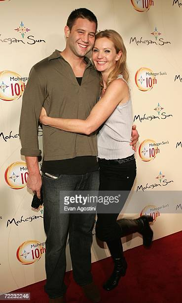 Actress Joan Allen and Josh Stolz pose at the Afterglow party during the Mohegan Sun 10th Anniversary celebration in the Cabaret Theatre at Mohegan...