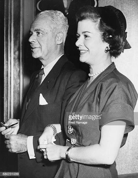 Actress Joan Bennett and her husband Walter Wanger attending a reception at Claridge's Hotel London August 21st 1954
