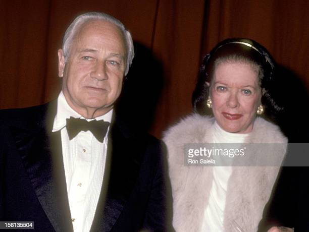 Actress Joan Bennett and husband David Wilde attend the Eighth Annual Artistry in Cinema Awards on September 25 1983 at Sheraton Centre Hotel in New...
