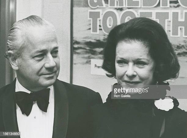 Actress Joan Bennett and husband David Wilde attending the premiere of 'The Way We Were' on October 16 1973 at Loew's State Theater in New York City...