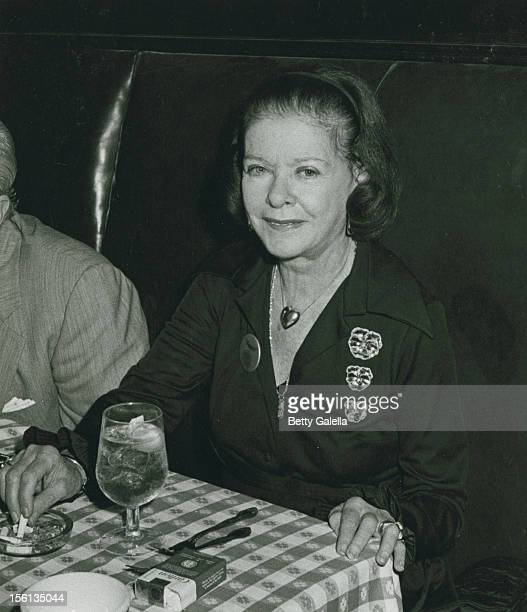 Actress Joan Bennett attending 'Party for 34th Annual Tony Awards' on June 1 1980 at Sardi's in New York City New York