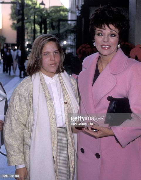 Actress Joan Collins and daughter Katyana Kass on December 15 1985 sighting at Beverly Wilshire Hotel in Beverly Hills California