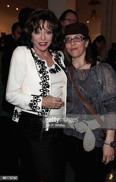 Actress Joan Collins and her daughter Katyana Kass at the 'Slim Rich Famous' Private View hosted by Getty Image Gallery on Eastcastle Street on April...