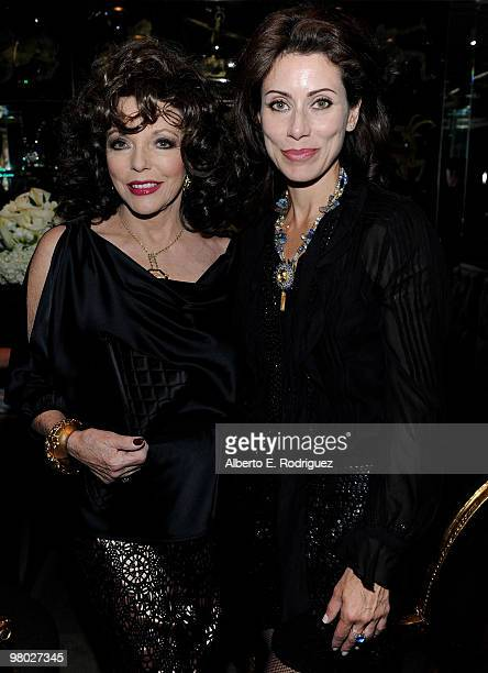 Actress Joan Collins and jewelry designer Angela TassoniNewley pose at 'A Parisian Afternoon' hosted by The House of Lloyd Klein Couture on March 24...