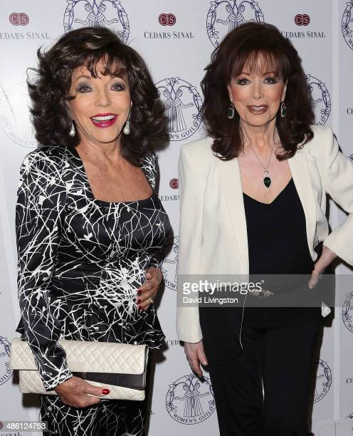 Actress Joan Collins and sister writer Jackie Collins attend the Women's Guild CedarsSinai Luncheon at the Beverly Hills Hotel on April 22 2014 in...