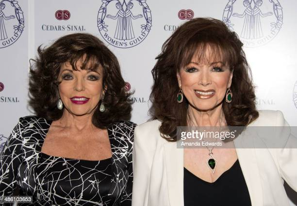 Actress Joan Collins and writer Jackie Collins arrive at the Women's Guild CedarsSinai Luncheon at Beverly Hills Hotel on April 22 2014 in Beverly...