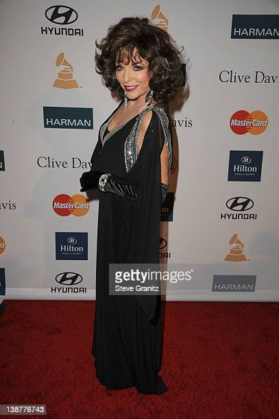 Actress Joan Collins arrives at Clive Davis and The Recording Academy's 2012 PreGRAMMY Gala and Salute to Industry Icons Honoring Richard Branson at...