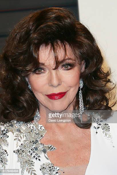 Actress Joan Collins arrives at the 2016 Vanity Fair Oscar Party Hosted by Graydon Carter at the Wallis Annenberg Center for the Performing Arts on...