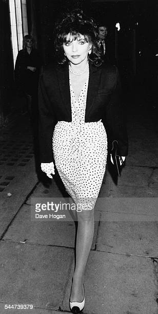 Actress Joan Collins arriving at Langan's restaurant London May 10th 1988