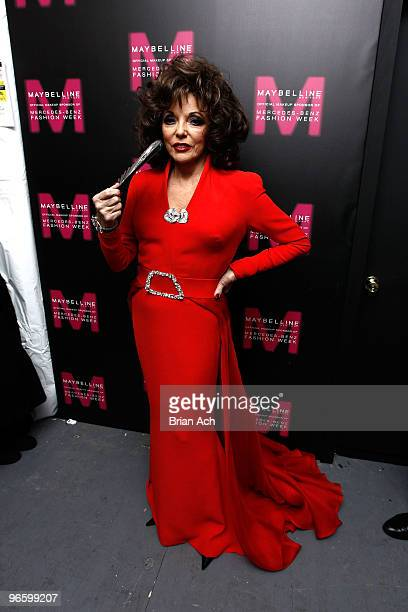 Actress Joan Collins attends MercedesBenz Fashion Week at Bryant Park on February 11 2010 in New York City