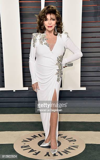 Actress Joan Collins attends the 2016 Vanity Fair Oscar Party Hosted By Graydon Carter at the Wallis Annenberg Center for the Performing Arts on...