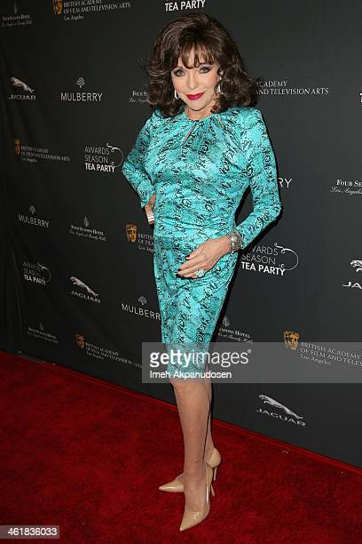 Actress Joan Collins attends the BAFTA LA 2014 Awards Season Tea Party at the Four Seasons Hotel Los Angeles at Beverly Hills on January 11 2014 in...