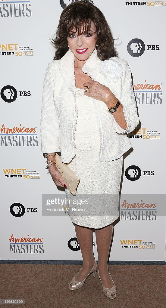 Actress Joan Collins attends the Premiere Of 'American Masters Inventing David Geffen' at The Writers Guild of America on November 13, 2012 in Beverly Hills, California.