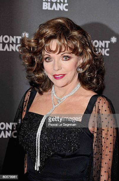 Actress Joan Collins attends the 'Writing Time', Robert Wilson's watch launch gala hosted by Montblanc during the Salon International de la Haute...