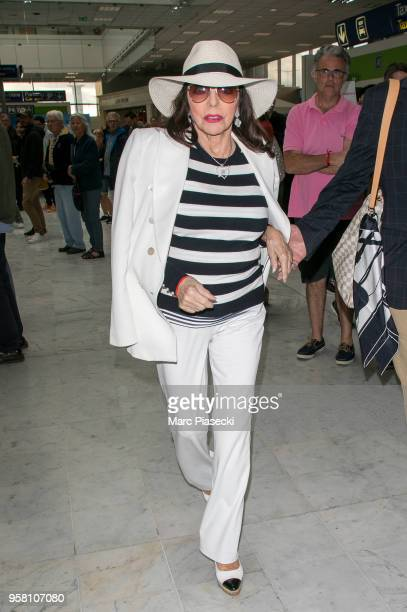 Actress Joan Collins is seen during the 71st annual Cannes Film Festival at Nice Airport on May 13 2018 in Nice France
